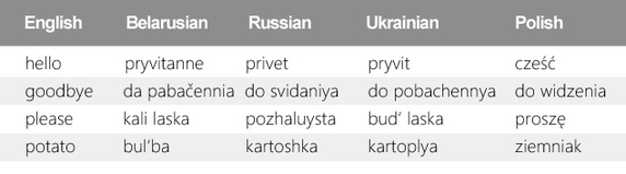 most common words in English, Belarusian, Russian, Ukrainian, Polish