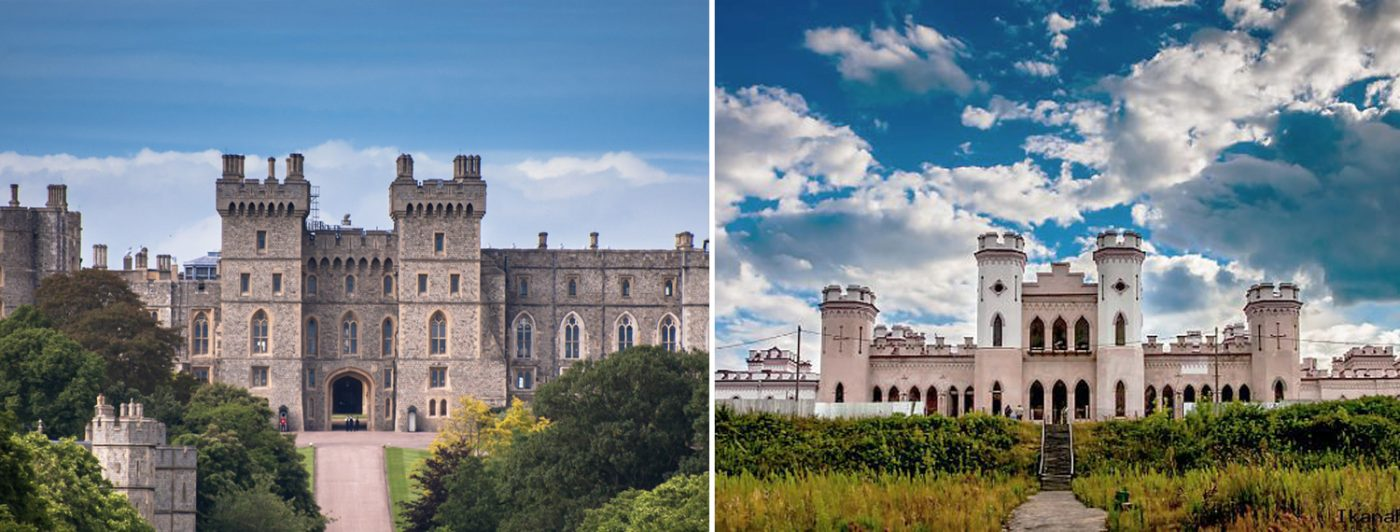 Windsor Castle in Berkshire and The Palace of the Puslovskys in Kossovo