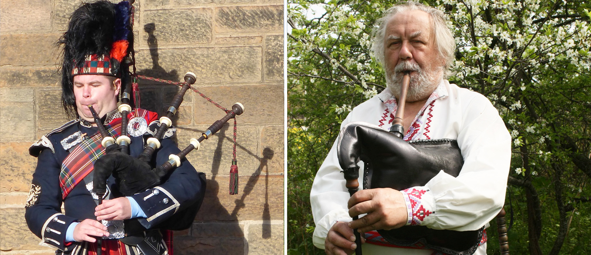 Scottish bagpipes and Belarusian duda