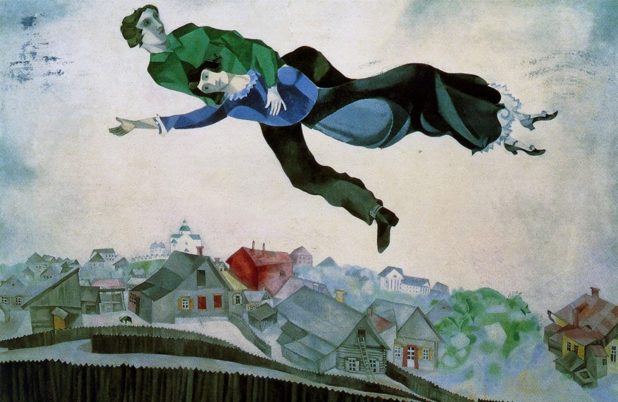 painting by Marc Chagall Over the Town