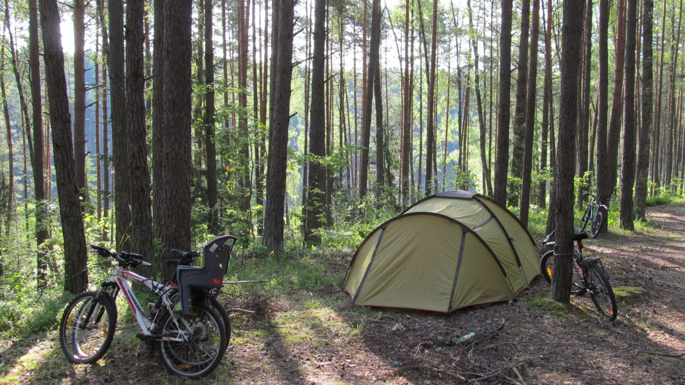 bicycles and a tent in the forest
