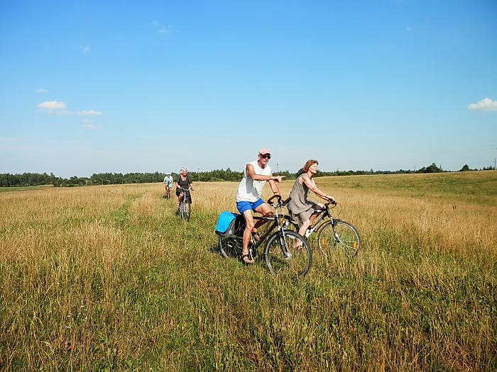people on bicycles ride through the field