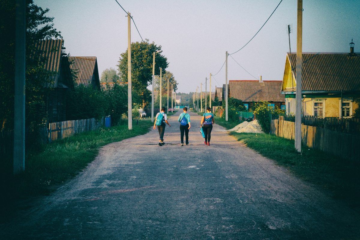 travelers in belarussian village